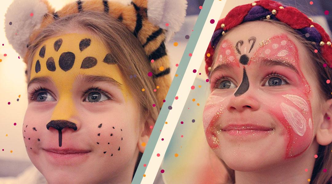 Karnevals-Schmink-Gesichter Leopard und Schmetterling