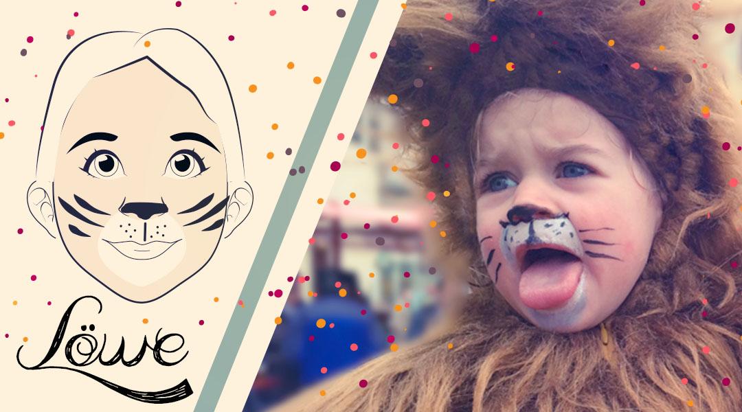 Karnevals-Schmink-Gesicht Löwe