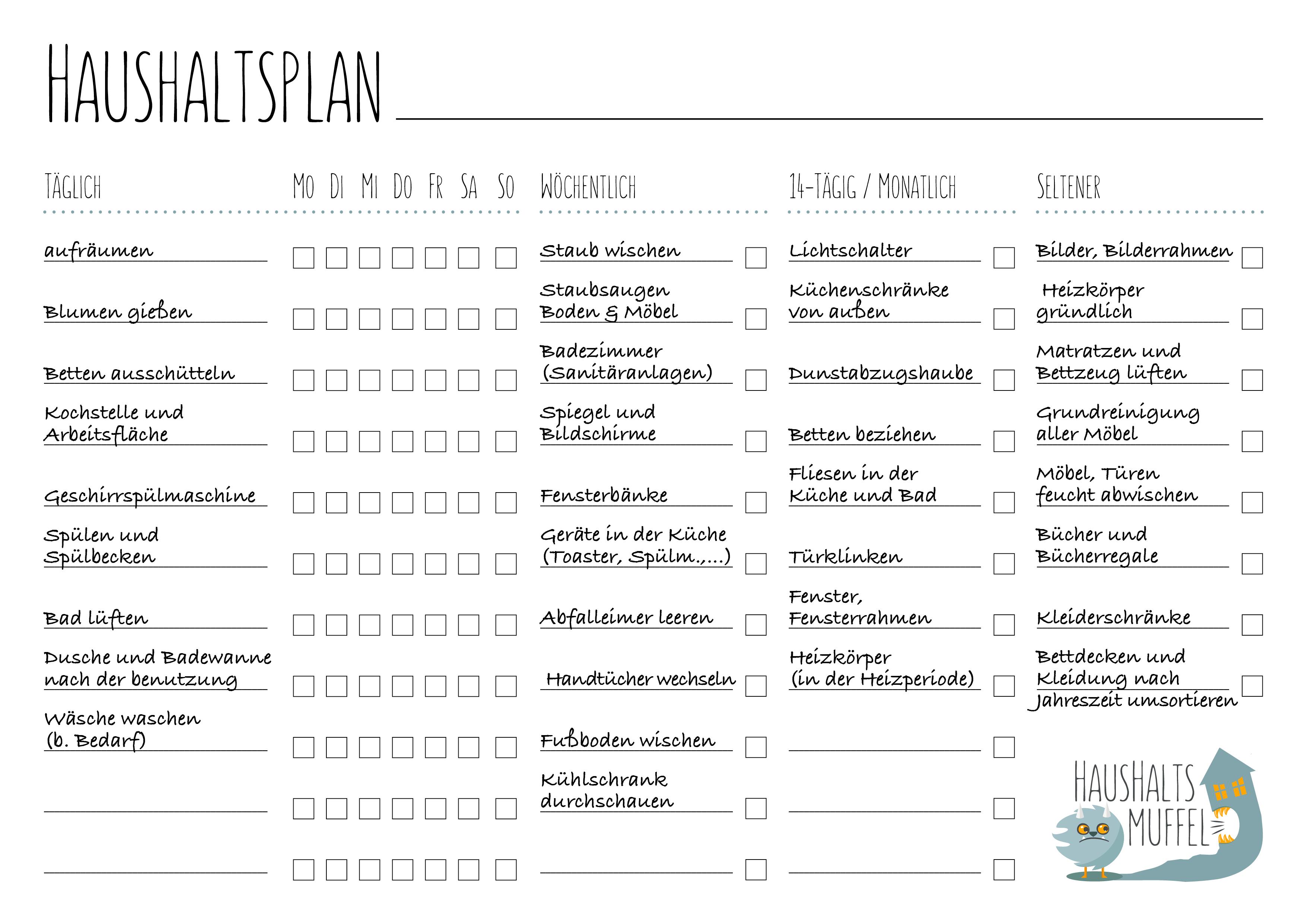 Xxl Putzplan Vorlage Mit Checkliste Haushaltsplan